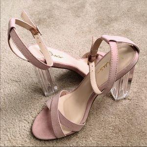Lulu's Shoes - LuLus Blush Pink Lucite Heels